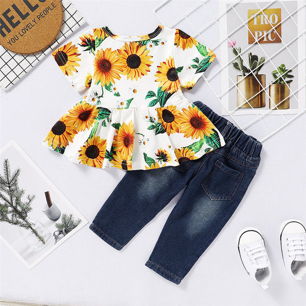 Baby Girls Sunflower Printed Short Sleeve Top & Ripped Jeans Baby Boutique Clothes Wholesale