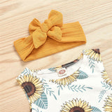 Baby Girls Sunflower Printed Sleeveless Top & Solid Shorts & Headband Infant Clothing Wholesalers