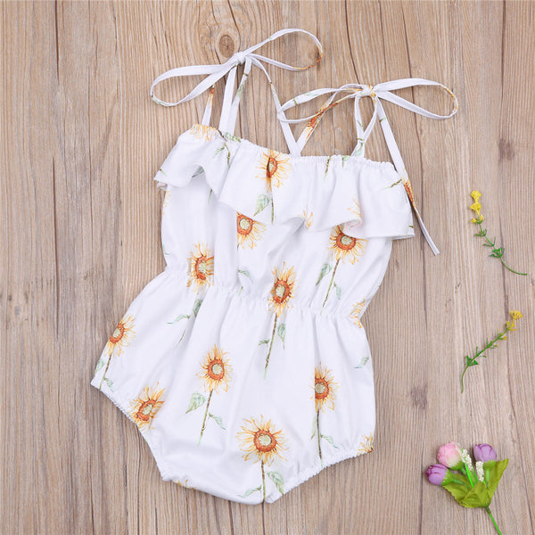 Baby Girls Sunflower Printed Sling Romper Baby Clothes Cheap Wholesale