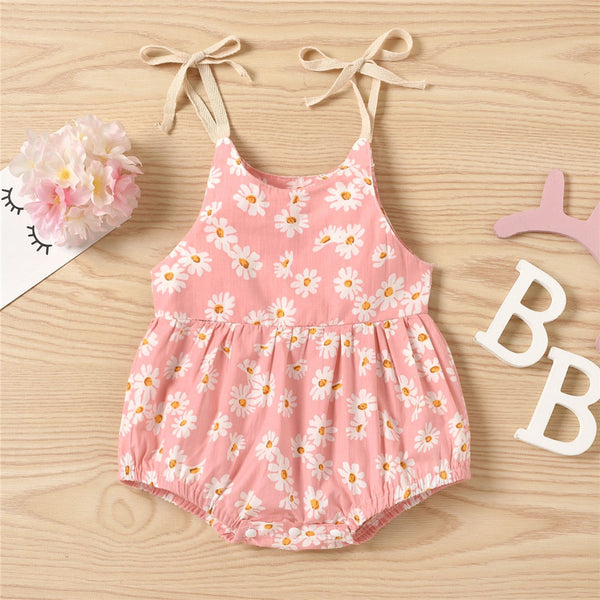 Baby Girls Sunflower Printed Sling Romper Wholesale Baby Clothes