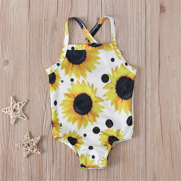 Girls Sunflower Printed Sling Swimwear Toddler One Piece Swimsuit