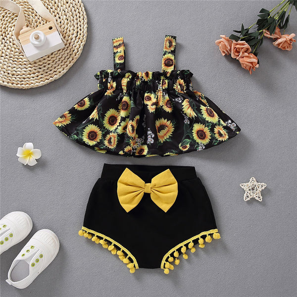 Baby Girls Sunflower Printed Sling Top & Bow Decor Shorts wholesale baby clothes