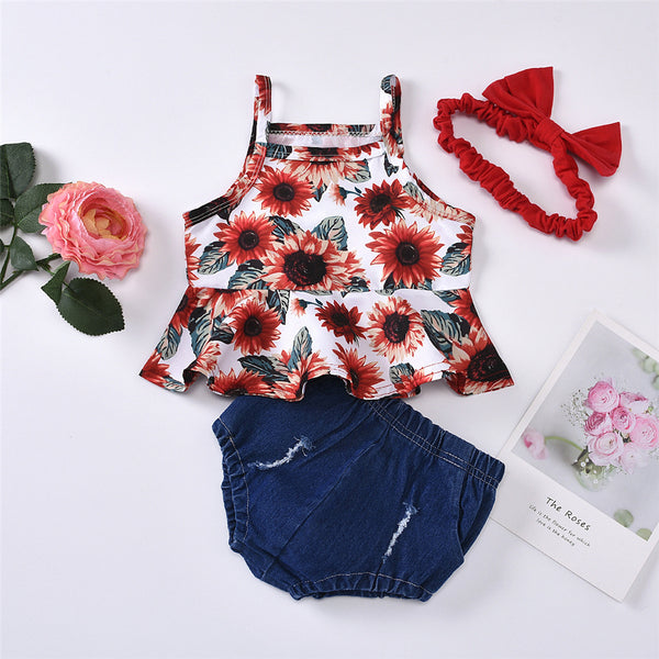 Baby Girls Sunflower Printed Sling Top & Shorts & Headband Cheap Baby Clothes In Bulk
