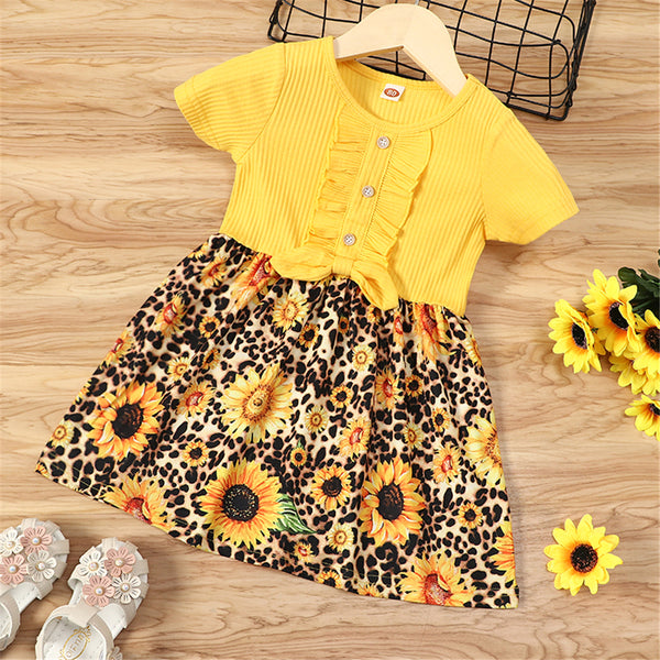 Girls Sunflower Printed Splicing Bow Decor Short Sleeve Button Dress wholesale kids clothing suppliers