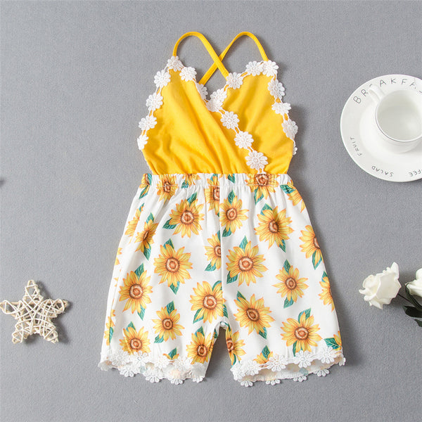 Girls Sunflower Printed Summer Fashion Sling Jumpsuit quality children's clothing wholesale