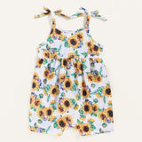 Baby Girls Sunflower Printed Suspender Romper Baby Clothing Wholesale