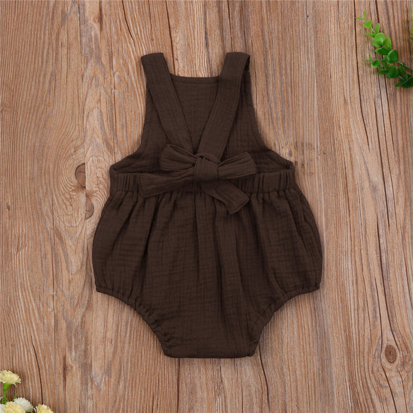 Baby Girls Sunflower Printed Suspender Romper Wholesale Baby Clothes In Bulk