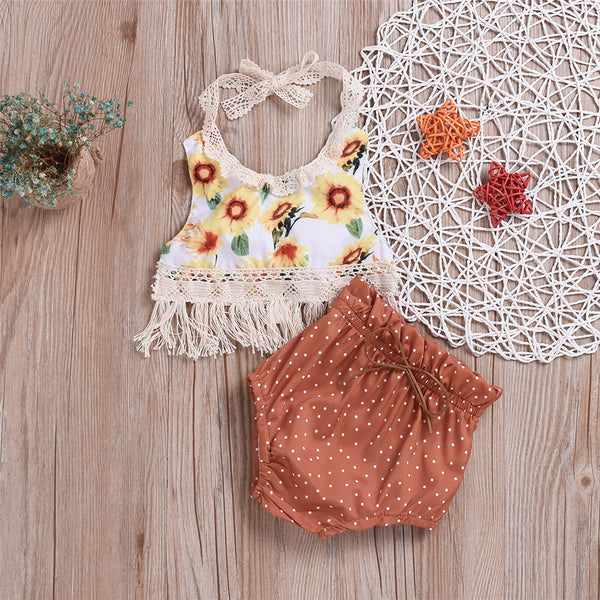 Baby Girls Sunflower Printed Tank Top & Polka Dot Short Baby Clothing Cheap Wholesale