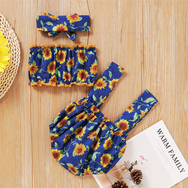 Baby Girls Sunflower Printed Tupe Top & Suspender Romper & Headband Baby Summer Clothes