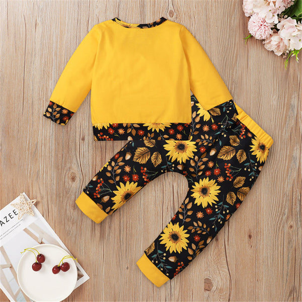 Baby Sunshine Sunflower Printed Long-Sleeve Top & Pants Baby Fashion Wholesale