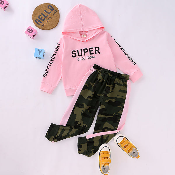 Unisex Super Cool Today Hooded Long Sleeve Top & Camo Pants Kids Wholesale Clothing