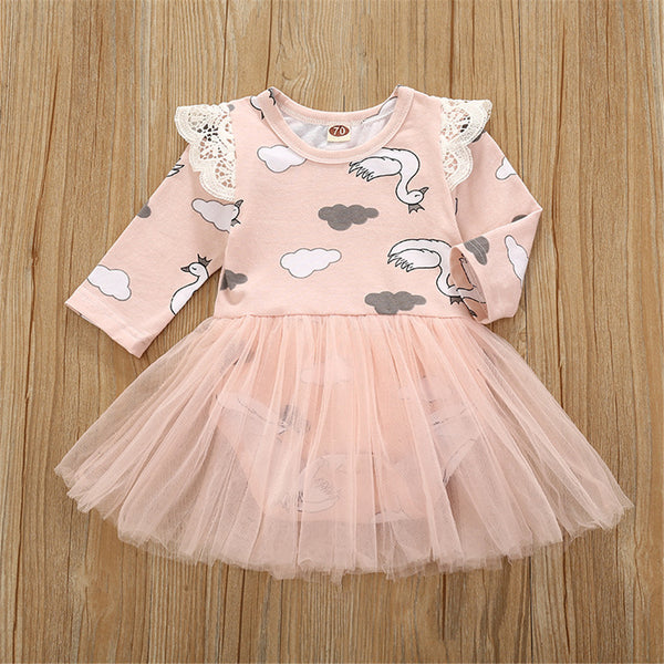 Baby Girls Swan Print Long-sleeved Tulle Romper Dress