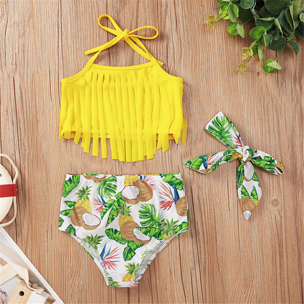 Baby Girls Swimwear Tassel Solid Top & Fruit Printed Shorts & Headband 2 Piece Swimsuit With Shorts