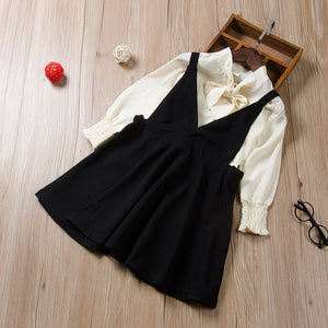 2-Piece Solid Color Bow Pleated Sleeve Top Suspender Princess Dress