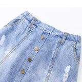 Girls Tassel Button Pocket Ripped Denim Skirt Wholesale Boutique Girl Clothing
