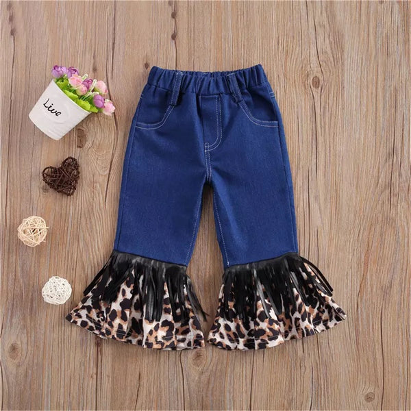 Girls Tassel Leopard Printed Pocket Flared Jeans Wholesale Boutique Clothes For Kids