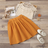 Girls Tassel Off Shoulder Hollow Out Top & Skirt Wholesale Clothing For Children