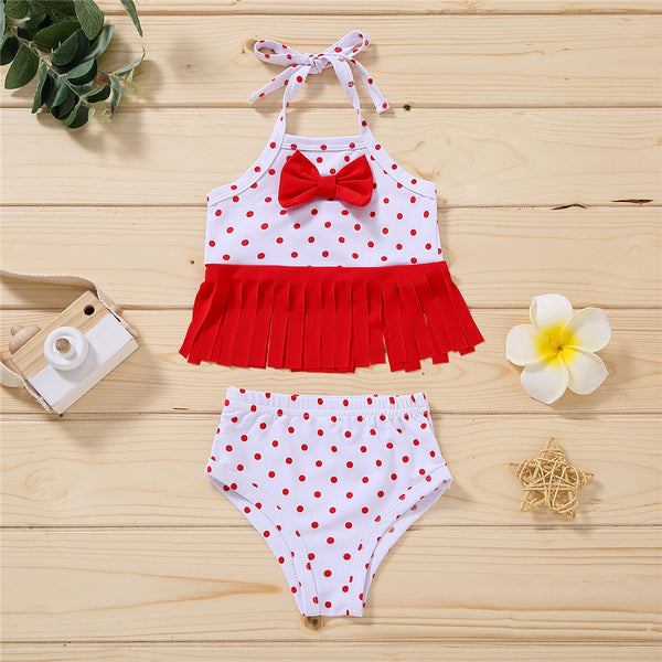 Baby Girls Tassel Polka Dot Fruit Printed Bow Decor Swimsuit 2 Piece Swimsuit With Shorts