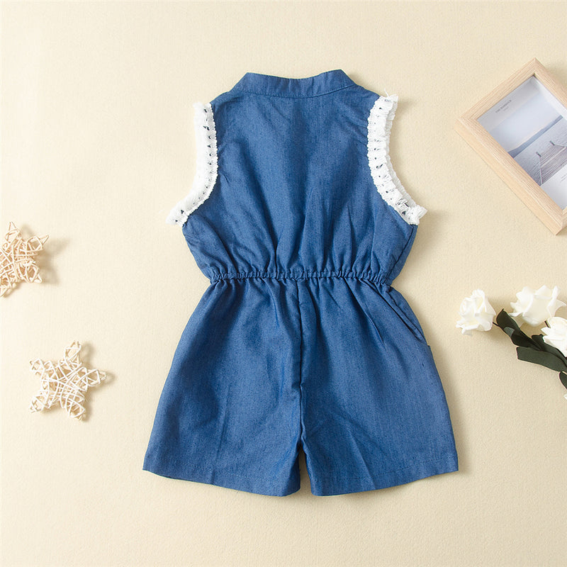 Girls Tassel Sleeveless Pocket Jumpsuit Trendy Kids Wholesale Clothing