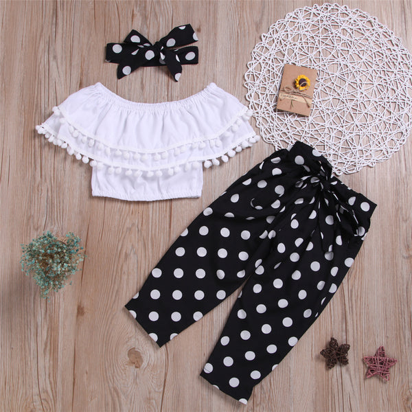 Girls Tassel Solid Color Short Sleeve Top & Polka Dot Pants & Headband Wholesale Baby Girl Clothes