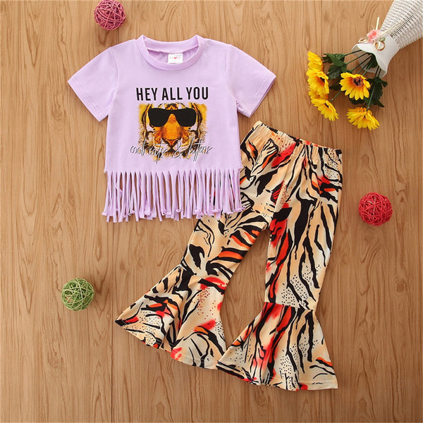 Baby Girls Tassel Tiger Letter Printed Short Sleeve Top & Bell Trousers wholesale childrens clothing