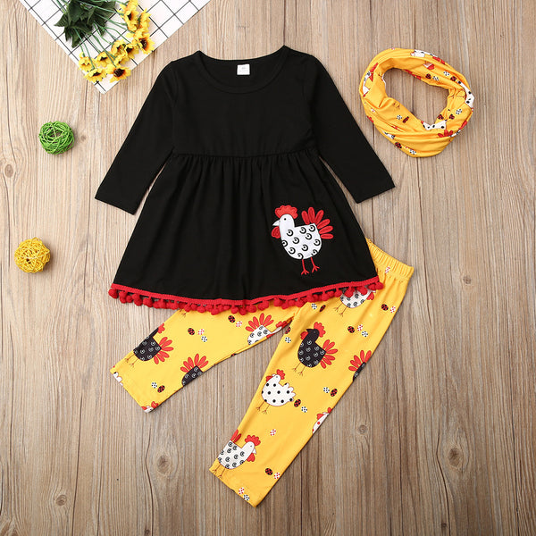 Girls Tassel Turkey Printed Thanksgiving Sets Wholesale Girls Clothing