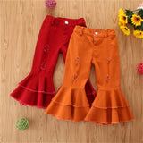 Girls Tassel Wig Leg Pocket Flared Jeans Baby Girl Boutique Clothing Wholesale