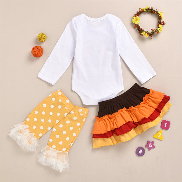 Baby Girls Thanksgiving 3PCS Turkey Sets Wholesale Baby Clothes