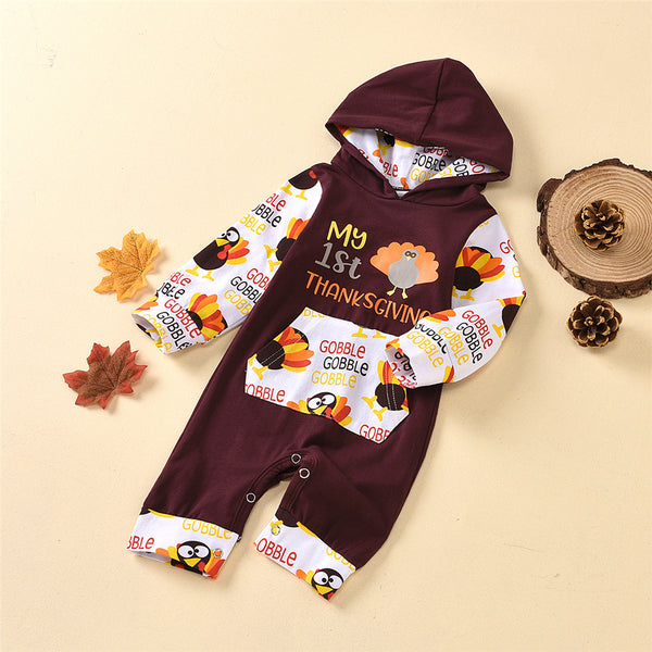 Baby Girls Thanksgiving Hooded Long Sleeve Baby Rompers Wholesale