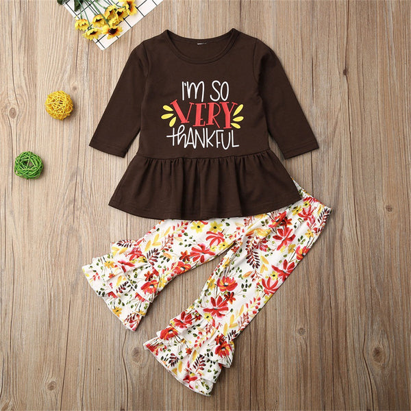 Girls Thanksgiving Letter Printed Top & Bell Bottoms Wholesale Girls Clothes