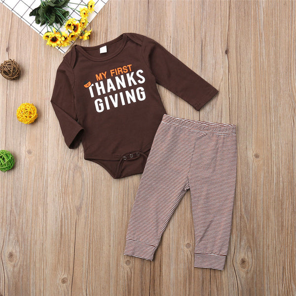 Baby Boys Thanksgiving Solid Romper & Pants Kid Apparel Wholesale