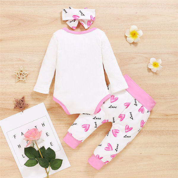 Baby The Princess Has Arrived Long Sleeve Romper & Heart Printed Pants & Headband Baby Wholesale