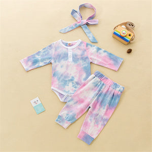Baby Girls Tie-dye Long Sleeve Romper & Pants & Headband