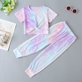 Girls Soft Tie-dye Short Sleeve Top & Pants