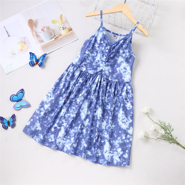 Girls Tie Dye Blue Sling Dress wholesale kids boutique clothing