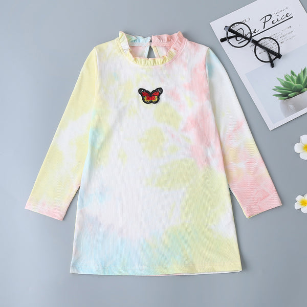 Girls Tie Dye Bow Long Sleeve Dress