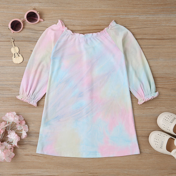 Girls Tie Dye Button Long Sleeve Princess Dress Wholesale Toddler Clothing