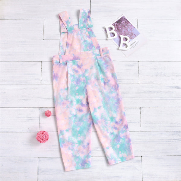 Girls Tie Dye Casual Pocket Button Jumpsuit Wholesale Girl Boutique Clothing