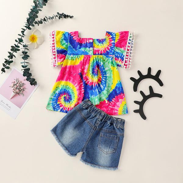 Girls Tie Dye Hairy Ball Short Sleeve Top & Ripped Denim Shorts girl wholesale boutique clothing