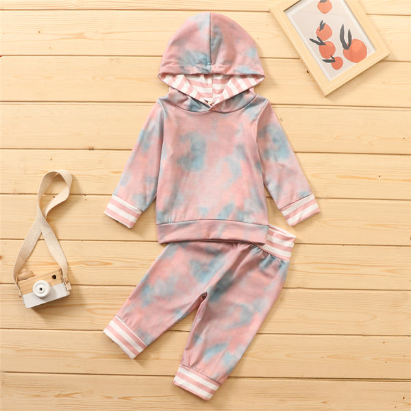 Baby Girls Tie Dye Hooded Long Sleeve Top & Pants Baby Girl Wholesale