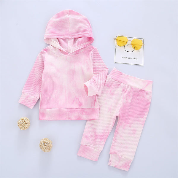 Girls Tie Dye Hooded Long Sleeve Tops & Pants