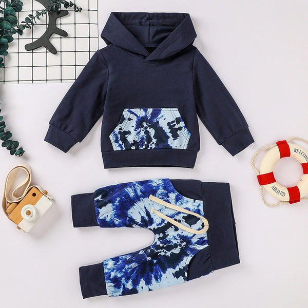 Boys Tie Dye Hooded Long Sleeve Tops & Pants