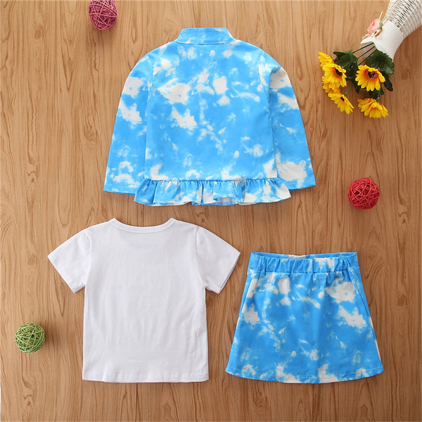 Girls Tie Dye Jacket & Short Sleeve Top & Skirt Wholesale Girl Clothing