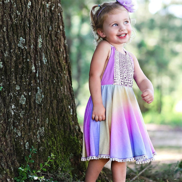 Girls Tie Dye Lace Sleeveless Halter Dress Wholesale Girl Clothing