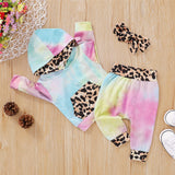 Baby Girls Tie Dye Leopard Long Sleeve Hooded Tops & Trousers & Headband