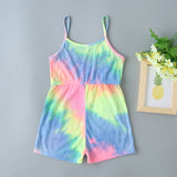 Girls Tie Dye Letter Graphic Cami Romper