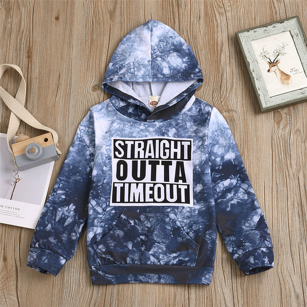 Boys Tie Dye Letter Printed Hooded Top Wholesale Boys Clothing