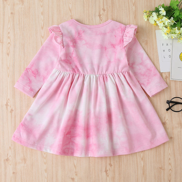 Baby Girls Tie Dye Letter Printed Long Sleeve Pleated Dress