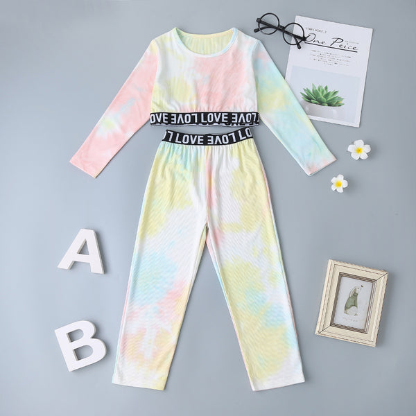Girls Tie Dye Letter Printed Tops & Elastic Waist Pants