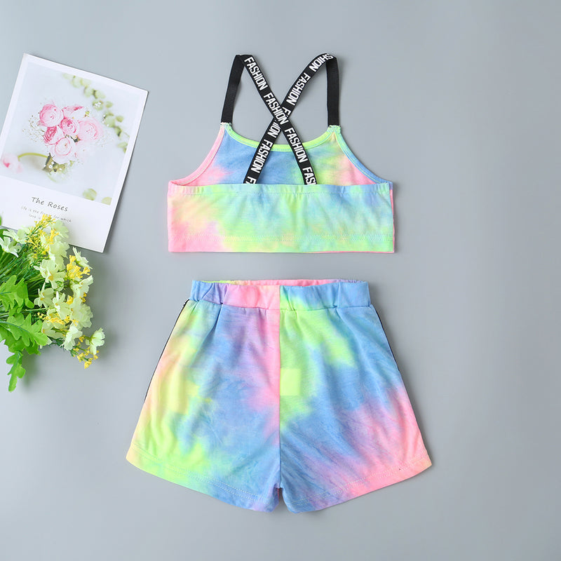 Girls Tie Dye Letter Tape Cami Top & Track Shorts